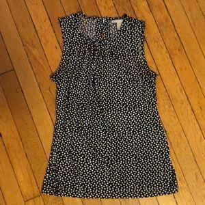 Black & white polka dot sleeveless blouse
